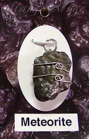 Meteorite Sterling Silver Wire-Wrapped Stone Pendant