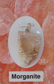 Morganite Sterling Silver Wire-Wrapped Stone Pendant