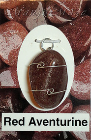 Red Aventurine Sterling Silver Wire-Wrapped Stone Pendant