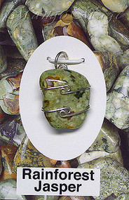 Rainforest Jasper Sterling Silver Wire-Wrapped Stone Pendant