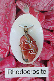 Rhodocrosite Sterling Silver Wire-Wrapped Stone Pendant
