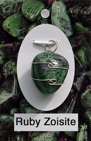 Ruby Zoisite Sterling Silver Wire-Wrapped Stone Pendant