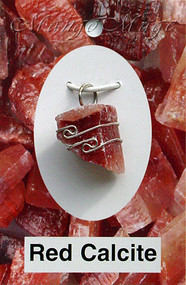 Red Calcite Sterling Silver Wire-Wrapped Stone Pendant