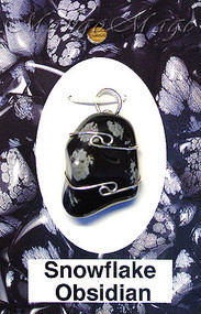 Snowflake Obsidian Sterling Silver Wire-Wrapped Stone Pendant