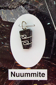Nuummite Sterling Silver Wire-Wrapped Stone Pendant