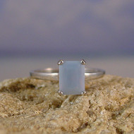 Owyhee Blue Opal Sterling Silver Ring - Size 8
