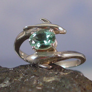 Siberian Green Quartz Sterling Silver Dolphin Ring - Size 7