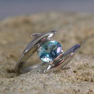 Aqua Aura Quartz Sterling Silver Dolphin Ring