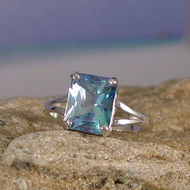 Aqua Aura Quartz Sterling Silver Ring - Size 7