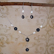 Black Onyx & Fresh Water Pearl Sterling Silver Jewelry Set