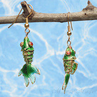 Green Cloisonné Wiggle Fish Earrings