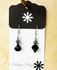 Black Glass Dangle Earrings
