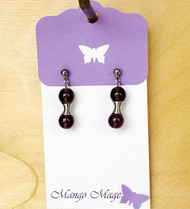 Purple Hourglass Glass Earrings