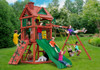 Lifestyle view of Double Down II swing set from Plan-It-Play