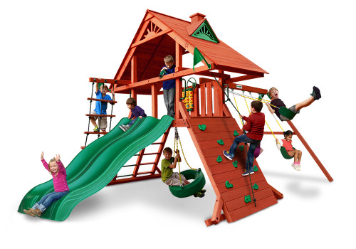 Front view of the Sun Palace Extreme Swing Set from Plan-It-Play.