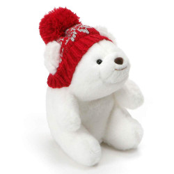 """Mini Snuffles White Bear with Knit Hat Christmas Holiday Plush 5"""""""