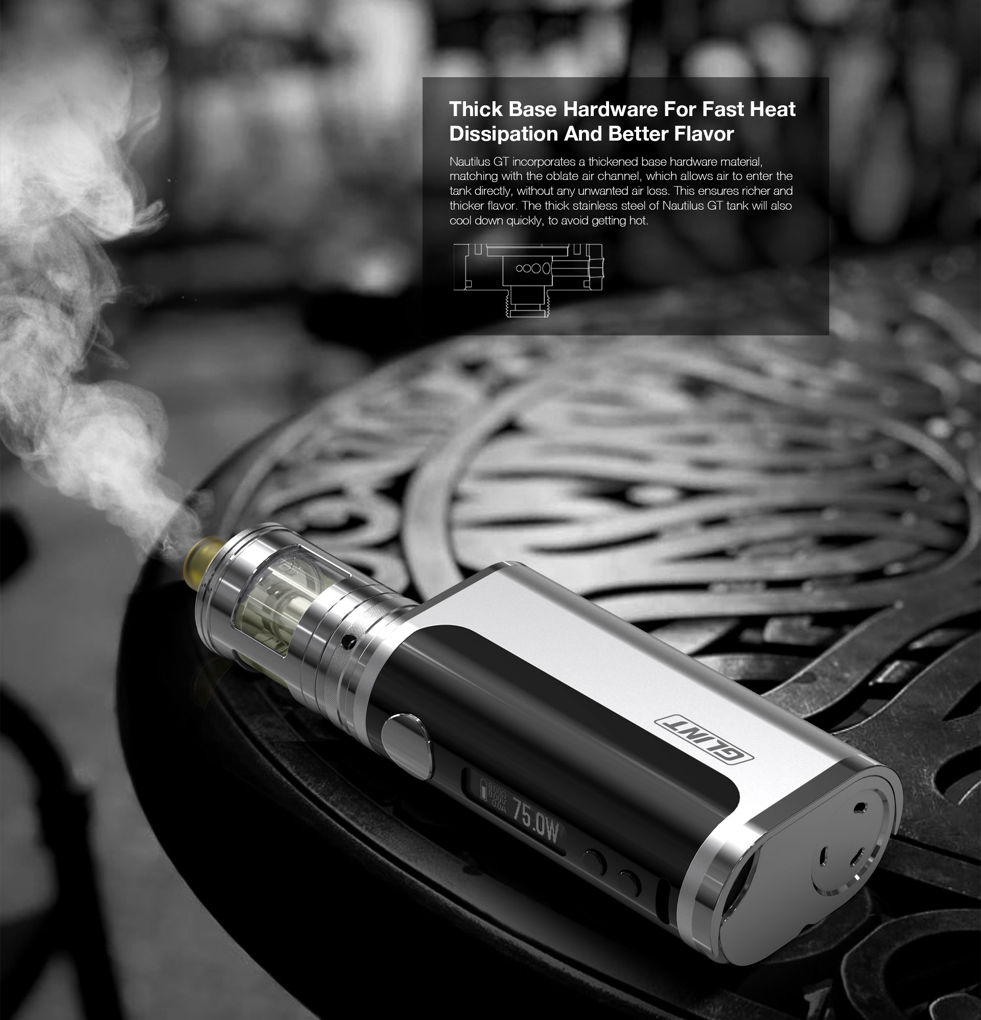 Aspire Nautilus GT Thick Base Hardware For Fast Heat Dissipation And Better Flavour