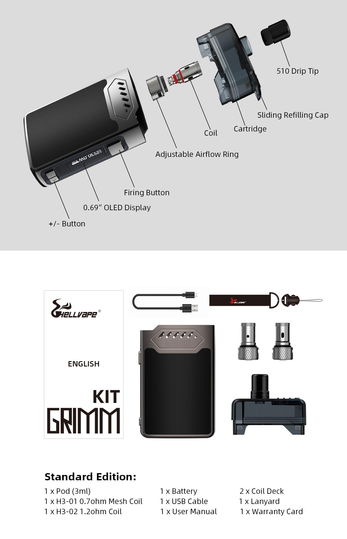 HellVape Grimm Kit 30W