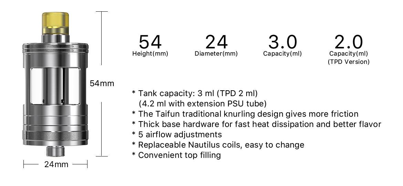 Taifun x Aspire Nautilus GT Tank Specifications