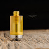 """Steam Tuners - """"T8 Ultem Polished Drip Tip"""" shown attached to Clear View Kayfun Tank for demonstration."""