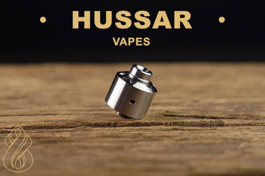 "Hussar Vapes - ""Hussar RDA v1.0"". Photo shown with drip tip for example only. Drip tip is NOT included in this sale. Sale is only for the atomizer and stand."