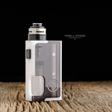 "Proteus Progeks - ""SQNK Beater"" White Delrin. Shown with Sandblasted SQUI RDA by Proteus Progeks attached to mod for demonstration purposes only. This sale is for the mod only, and does NOT include the atomizer."