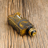 "Proteus Progeks - ""SQUI LE Gold"" Bottom Feed RDA. Shown attached to Final Breed mechanical squonk mod by Proteus Progeks for demonstration purposes only. Mod is NOT included in this sale. This sale is only for the atomizer and its included accessories."