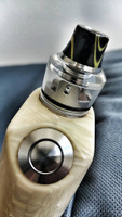 "Bell Vape by Chris Mun - ""Bell Cap for Haku Venna by Haku Engineering"". Shown with Venna deck, drip tip, beauty ring and mod for demonstration purposes only. These items are not included in this sale. This sale is ONLY for the Bell Cap."