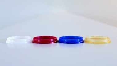 Miro Momo Candy - Beauty Ring, Friction Fit, 25mm to 22mm: White Delrin, Red Delrin, Blue Delrin, and Amber Ultem