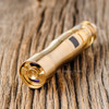 "DDP Vape - ""TriO, Brass"" Mechanical Tube Mod shown with atomizer and battery attached for demonstration purposes only. This sales listing is ONLY for the mod."
