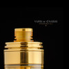 "Hussar Vapes - ""Inverted Torpedo Cap for Hussar RTA and Project X, Polished Gold"" shown sitting on top of the Project X tank for demonstration purposes only. This sale is only for the Inverted Torpedo Cap & drip tip set."