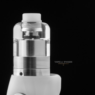 "Bell Vape by Chris Mun - ""Bell Cap for 22mm Kayfun [Lite] 2019 RTA by SvoëMesto"" shown attached to atomizer base, mod, and with drip tip for demonstration purposes only. None of these extra items are included in this sale. This listing is only for the Bell Cap."