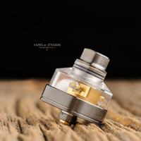 "Bell Vape by Chris Mun - ""Bell SLAM Cap for Monarch TheSecond RDA by Monarchy Vapes"", Polished shown with Monarch TheSecond deck, and Play Gen5 Gun Metal Drip Tip/Beauty Ring Set for demonstration purposes. This sales listing is ONLY for the Bell Cap."