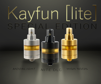 "SvoëMesto - ""Kayfun [Lite] SE"" RTA, Moonlight (Blasted), Nite DLC (Black), High Noon (Gold)"