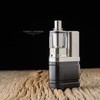 "EVL Vapors - ""EVL Twin"" Nautilus Coil Tank, shown with drip tip, 22<24mm Hexairgon Air Flow Beauty Ring and mod for demonstration purposes only."