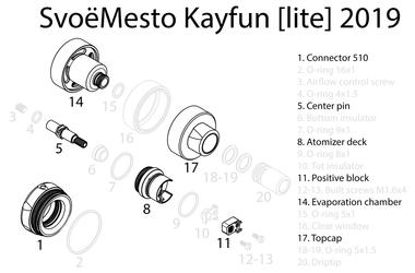 SvoëMesto - Kayfun [Lite] 2019 Spare Parts - A1 - 22mm 510 Base