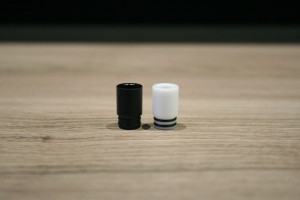 """Steam Tuners - """"T1 Drip Tip"""", black or white acetal (Delrin)"""