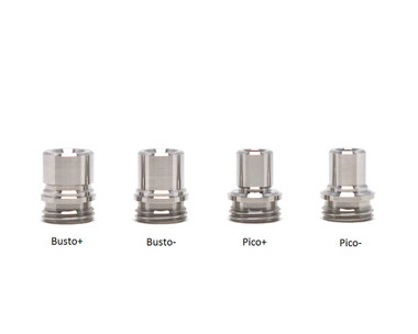 """JMK Tips - """"Billet Box Hybrid Drip Tips (For REV 4)"""", Busto+, Busto-, Pico+, and Pico- in Stainless Steel"""