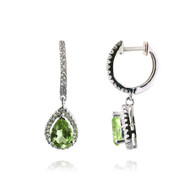 Diamond and Pear-shaped Peridot Earrings