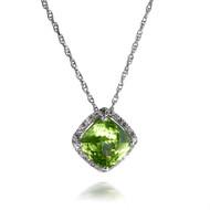 Cushion Peridot and Diamond Pendant