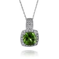 Dazzling Cushion Peridot and Diamond Pendant