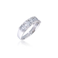 Diamond Baguette and Round Cluster Band