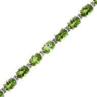 Classic Round Diamond and Oval Peridot Tennis Bracelet