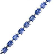 Classic Round Diamond and Oval Sapphire Tennis Bracelet