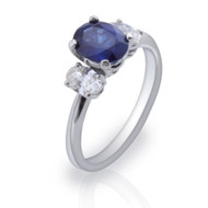 Asbury 2.00 Carat Oval Blue Sapphire Ring with Round Diamonds