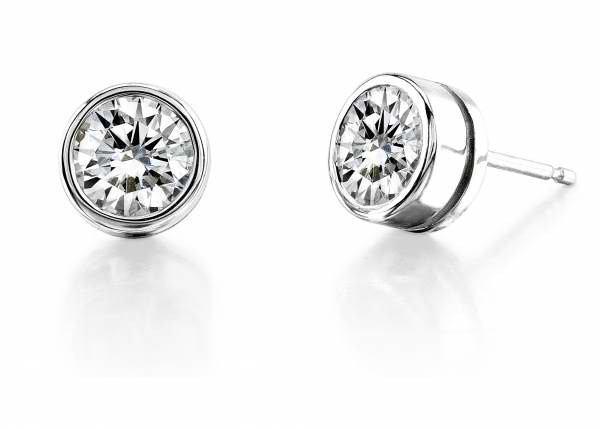 a10c30838a318 Create Your Own Bezel Set Round Brilliant Cut Diamond Stud Earrings -  Prices Starting at $149.00