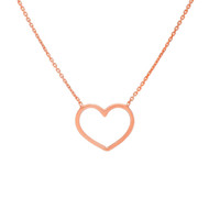 Open Heart Necklace in 14K Pink Gold