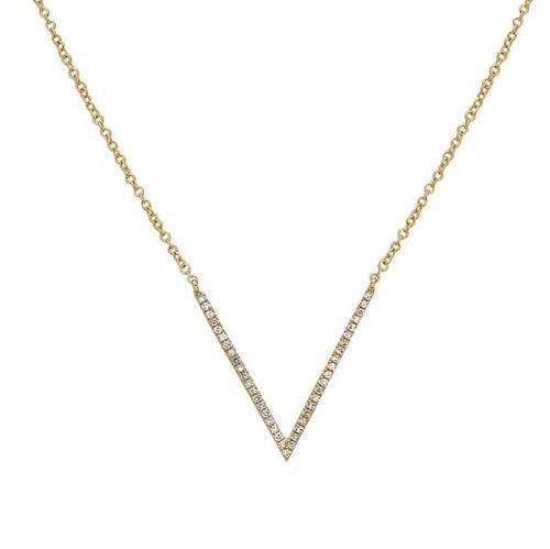 Bassali Diamond Chevron Necklace in 14K Yellow Gold
