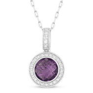 Madison L Amethyst and Diamond Drop Halo Pendant