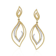 Madison L Beaded Leaves Diamond Drop Earrings